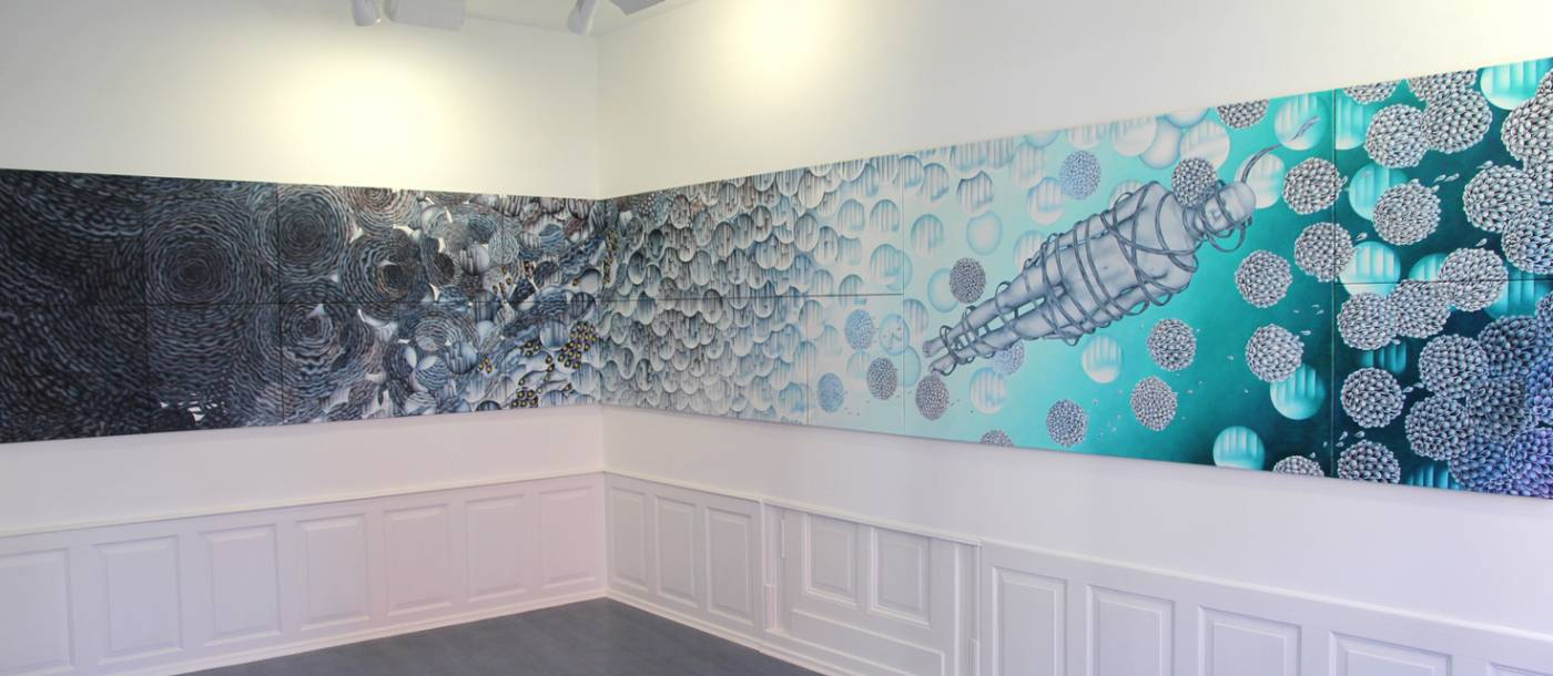 """GEDRÄNGEFAKTOR"", Installation 2018, Galerie Peter Lethert, Bad Münstereifel"