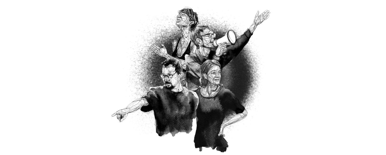 Team Junges Theater // G. Smith // V. Feist // M. Kaiser // A.-L. Schuppe //   2019 // Illustration: Michael Genter