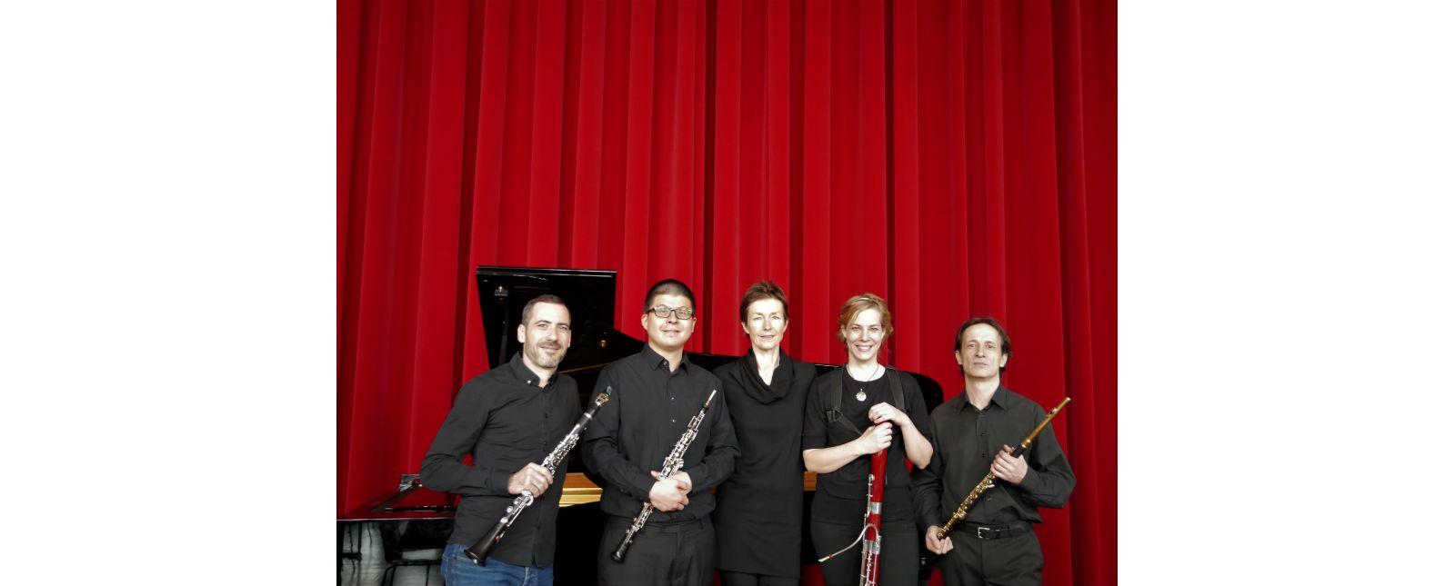 Ensemble 5. Kammerkonzert // Julien Laffaire // Luis Teo // Katharina Kegler // Susanne Keck // Daniel Lampert // 2019 // Foto: Theater Freiburg