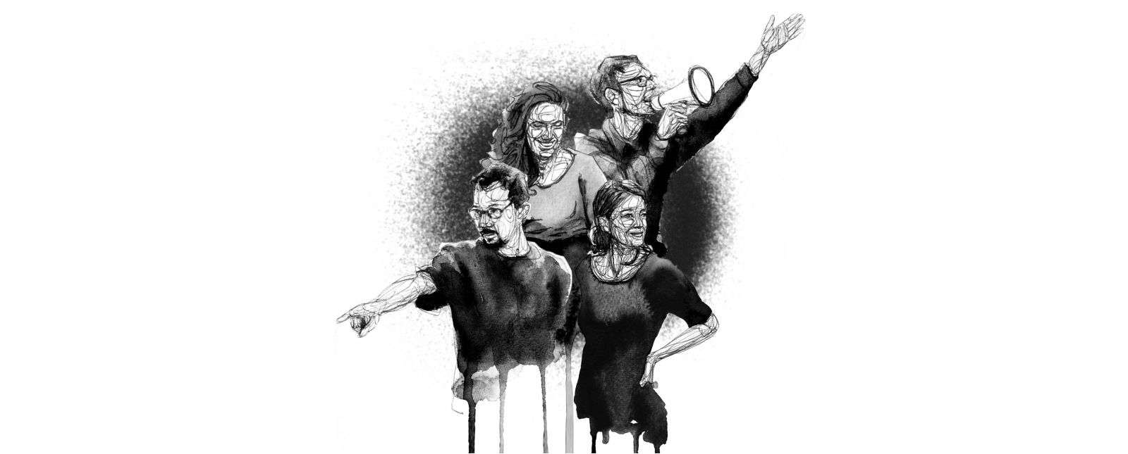 Team Junges Theater // Graham Smith // I. Kammerer // M. Kaiser // A.-L. Schuppe //  2021 // Illustration: Michael Genter