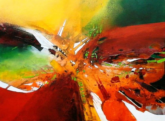 """Künstlertreff mit Regina Schmidt zur Kunstausstellung """"Farbenfrohes Wechselspiel"""" ©"""